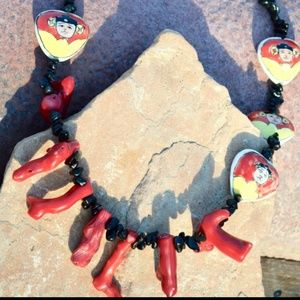 Red Coral Obsidian Eclectic Fringe Necklace OOAK